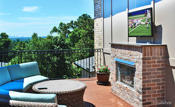 photo of mounted tv outdoor