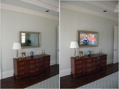 concealed tv over dresser