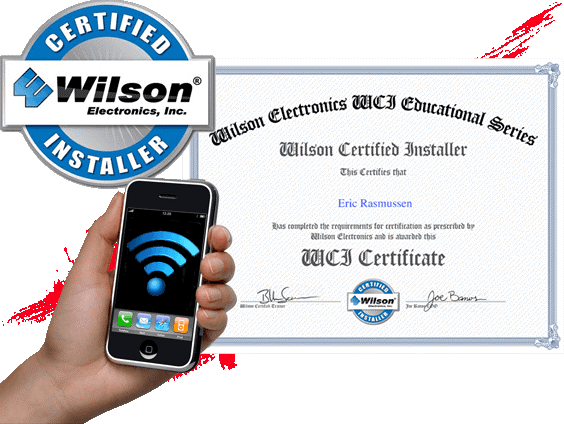 CERTIFIED Wilson ilson Electronics WCI Educational Series Electronics, Inc. MSTALLER Wilson Certified Installer This Certifies that Eric Rasmussen as completro the rrquiremnts for cretitiration as prestribrd b son Eletronits anb is atoarbed this WCI Certificate CIATHRE Wilson BLC Loe Banes CntEa