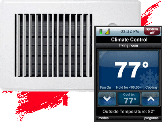 system off 02:32 PM Climate Control living room 779 Hold for <00:00 Fan On Cooling Cool to: 77 Outside Temperature: 82° modes programs